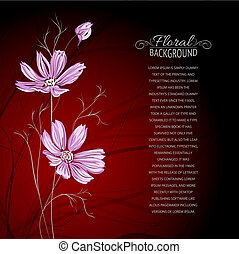 Blue flower over brown background. Vector illustration,...
