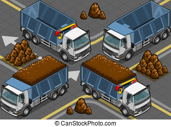 isometric containers trucks - Detailed illustration of a...