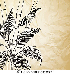Palm tree over bamboo forest.