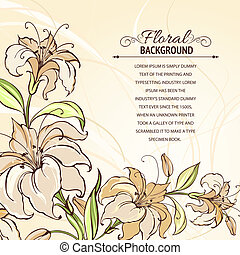 Brown background with blooming lilies. Vector illustration.