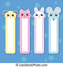 animal bookmark-01 - Four animal bookmarks for children,...