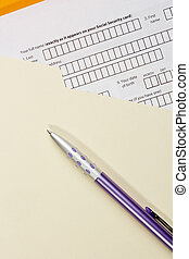 Application Form - Directly above photograph of an...