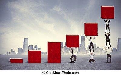 trabajo en equipo, corporativo, ganancia
