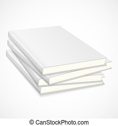 Stack of empty books with white coverVector illustration
