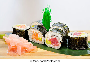 Japanese sushi, traditional japanes - A plate of different...