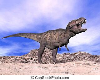Tyrannosaurus shouting - 3D render - Agressive tyrannosaurus...
