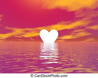 Love sunset - 3D render - Small yellow heart upon the ocean...