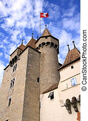 Old castle, Aigle, Vaud, Switzerland - View of one tower...