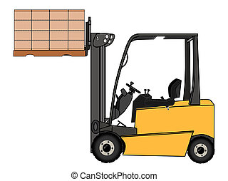 Isolated Yellow forklift illustration - A Isolated yellow...
