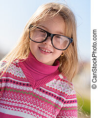 Girl Wearing Eye Glasses - Little Blonde Girl Wearing Eye...