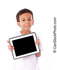 Child with tablet - Boy showing a tablet isolated over white...