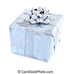 Christmas gift box - Wrapped christmas gift box isolated on...