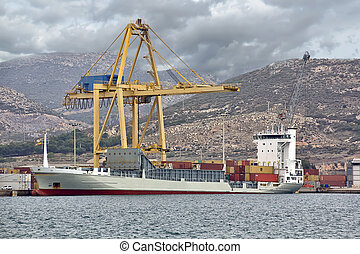 merchant ship carrying containers
