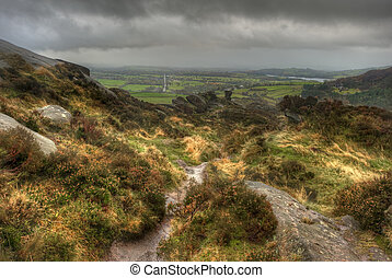 View from Ramshaw Rocks towards The Roaches in Peak District...