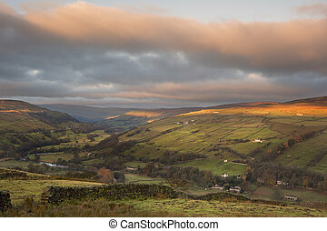 Sunrise over Gunnerside in Swaledale in Yorkshire Dales...