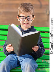 Small Boy Reading Book, Outdoors