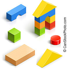 brick house. wooden toy set - brick house. wooden toy vector...