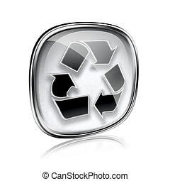 Recycling symbol icon grey glass, isolated on white background.