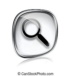 magnifier icon blue glass, isolated on white background.