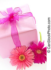 Pink gift box - Gift box wrapped in pink paper with ribbon...