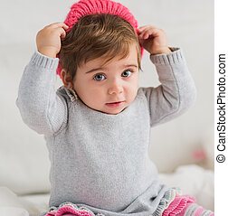 Cute Baby Wearing Head Wear, Indoors