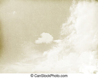 Fog and clouds on a vintage, textured paper background with a color gradient.