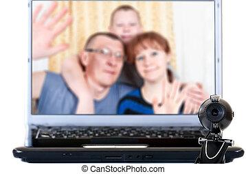 rodzina, mówi, video, Communic