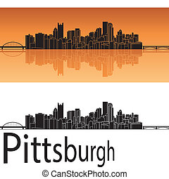 Pittsburgh skyline in orange background in editable vector...