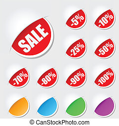 Labels for sale - Big red label with sale price