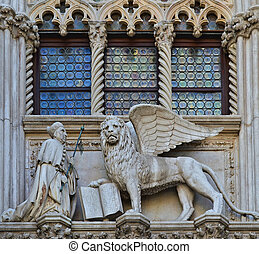 VENICE, ITALY architecture fragment Doges Palace century...