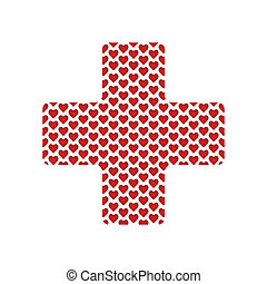 Cross shape with medical hearts for your design.