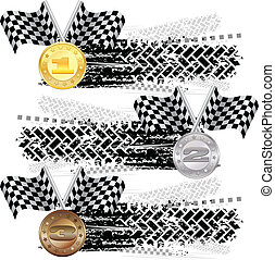 Tire track with medals