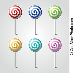 Colorful lollipops - Set of sweet glossy lollipops isolated...
