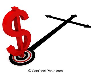 dollar sign with direction arrows