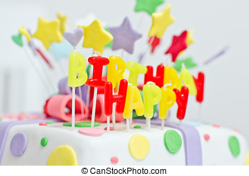 Birthday cake with colorful decoration