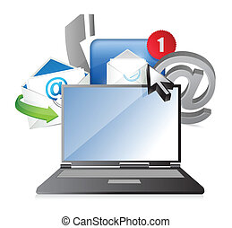 laptop Contact us concept illustration design over white