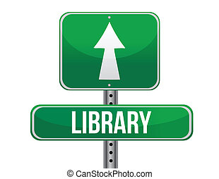 library road sign illustration design over a white...