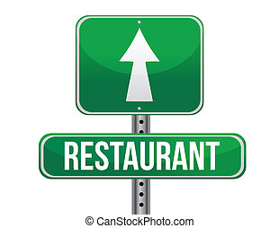 restaurant road sign illustration design over a white...
