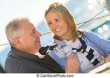 Mature Couple Drinking Wine - Portrait Of A Mature Couple...
