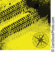Yellow tire tracks with wind rose - Black grunge tire track...