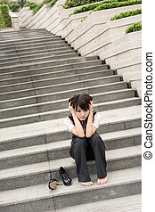 worried businesswoman - Sad business woman feel worried and...