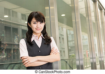 Successful business woman of Asian, closeup portrait in...