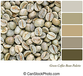 Green Coffee bean palette - A background of unroasted coffee...