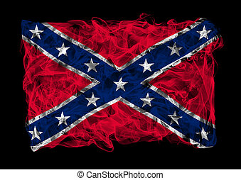 Confederate National Flag of smoke - The flag of Confederate...