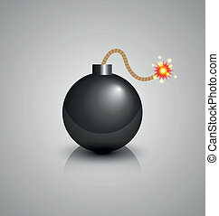 Black bomb burning isolated on grey background