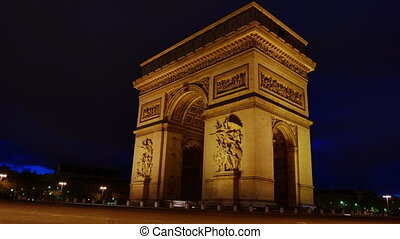 The Arch of Triumph at night Paris time-lapse