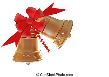 aislado, navidad, campanas, Recorte, Trayectoria