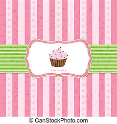 Pastel Vintage Cupcake Background With Gradient Mesh, Vector...