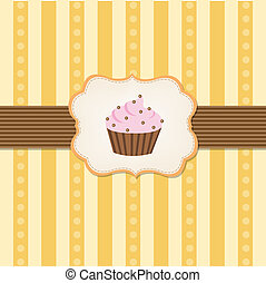 Vintage Cupcake Background With Gradient Mesh, Vector...