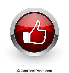 thumb up red circle web glossy icon